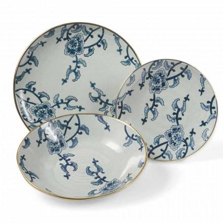 E vendosur për darkë në porcelan blu dhe të bardhë 18 copë moderne - Kyushu