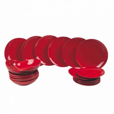 Pjatat e Kuqe të Krishtlindjeve të vendosura në prodhim gresi 18 Copë Tradita dhe Eleganca - Rossano