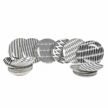 Dizajn elegant Enë darke prej porcelani të zi dhe të bardhë 18 copë - Tanzani