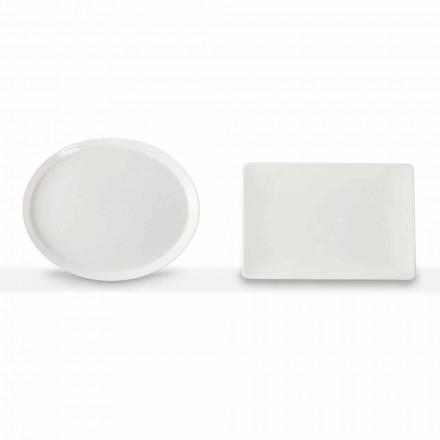 Pllaka për darkë vendosni 3 copa të projektimit ovale dhe drejtkëndëshe në porcelan - Egle