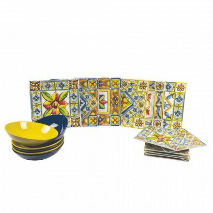 Seti e pllakave katrore me ngjyra moderne në Porcelan 18 copë - verë