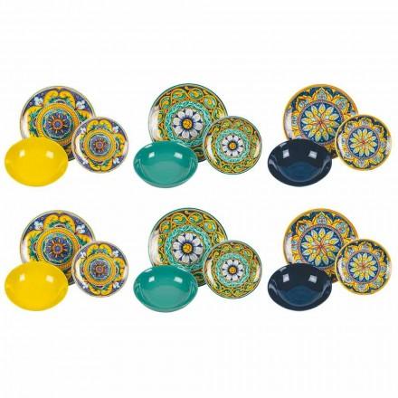 Shërbim i plotë i tryezës në Porcelani dhe Gresi me ngjyra 18 Copë - Kalabria