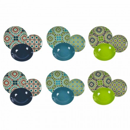 Shërbimi i tryezës Enët prej porcelani dhe gresi me ngjyra moderne 18 copë - hambare