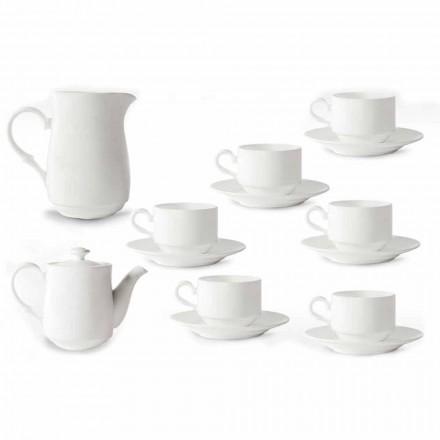 Shërbimi i Kupave të Kapuçinës së Porcelanit të Bardhë 14 Pjesë Mëngjesi - Samantha