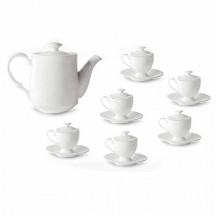 Shërbimi i Kupave të Kafe me Këmbë dhe Kapak 19 copë në Porcelan - Armanda