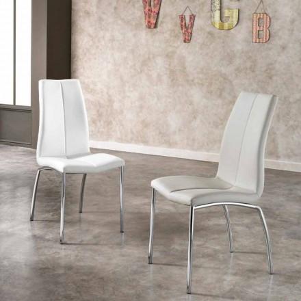 Seti i 4 karrigeve metalike eko-lëkure dhe kromuar Alba, dizajn modern