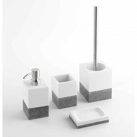 Kompleti i aksesorëve të banjove Designer në rrëshirë të bardhë dhe gri - Saeda