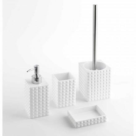 Set i aksesorëve moderne të banjës në rrëshirë të bardhë ose rërë - perlat