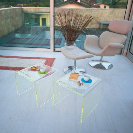 Komplet i 2 Tabelave të Brezit të Dizajnit Modern në Metakrilat Made in Italy - Leielui