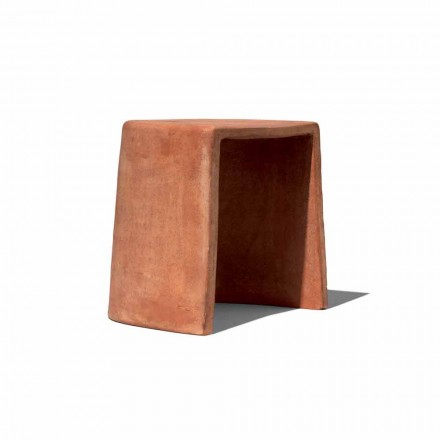Stool i ulët për Terracotta të punuar me dorë të punuar në Itali - Julio