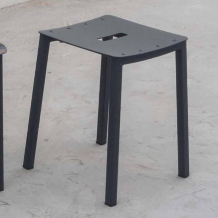 Stool i Ulët modern i Stackable në natyrë në alumin alumini i bërë në Itali - Dobla