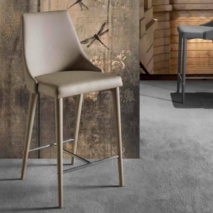 Stool me dizajn modern me bazën e shpinës dhe bazës metalike - Berenice