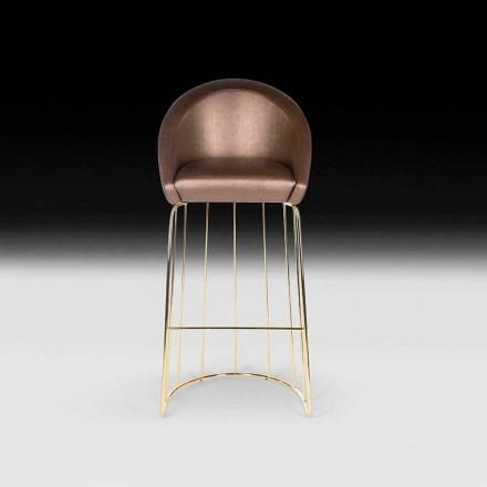 Stool bar Dedo, dizajn modern, i bërë në Itali, i mbështjellur mbrapa dhe sedilje