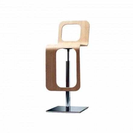 Stol Kuzhine me Dizajn Modern në Dru Lisi dhe Metal - Signorotto