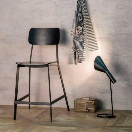Stool modern H.97 cm, dru dhe metal, Elmas