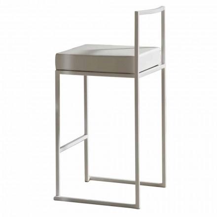 Stool i fiksuar me eko-lëkure, Dizajn modern H 65 cm - Alina