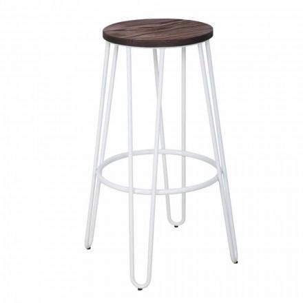 Stool industrial i stilit industrial të dizajnit modern në dru dhe hekur, 2 copë - Belia