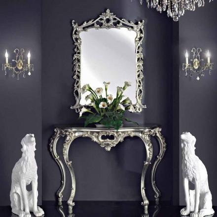 Pasqyrë muri, tastierë druri dhe majë, e punuar me dorë në Itali, Giacomo
