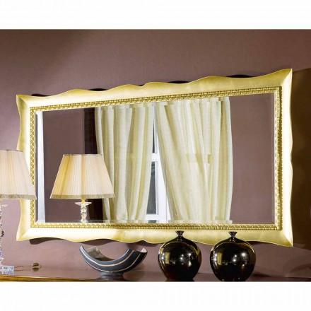 Pasqyrë muri i punuar me dorë në dru ari / argjendi, bërë në Itali, Luigi