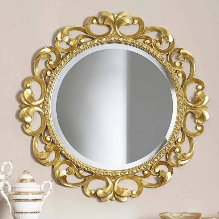 Pasqyrë muri prej druri të punuar me dorë, prodhuar plotësisht në Itali, Riccardo