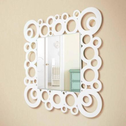 Pasqyrë mur me murin e bardhë katror Dizajn modern me dekorime prej druri - Bubble