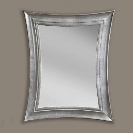 Pasqyrë mur druri drejtkëndor Sandro punuar me dorë, prodhuar në Itali