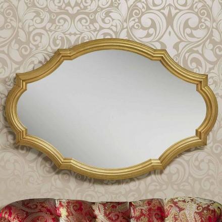 Pasqyrë mur argjendi / ari modern prej druri, prodhuar në Itali Davide