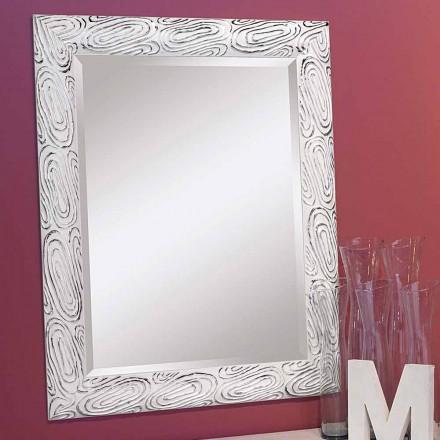 Pasqyrë muri ari, e bardhë dhe argjendi në dru, Eugenio, prodhuar në Itali