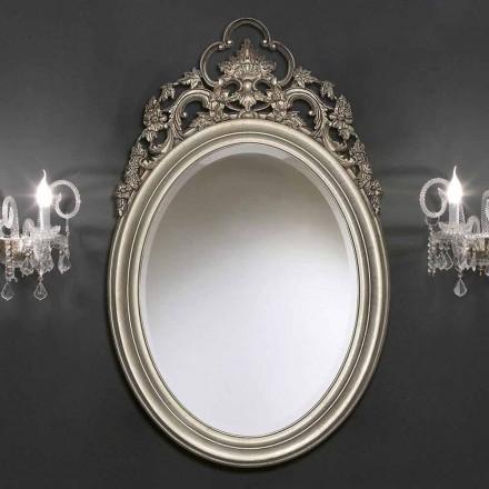 Pasqyrë muri ovale argjendi / ari të punuar me dorë, prodhuar në Itali, Giorgio