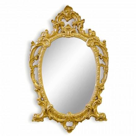 Pasqyrë muri ovale punuar me dorë nga druri, prodhuar në Itali, Roberto