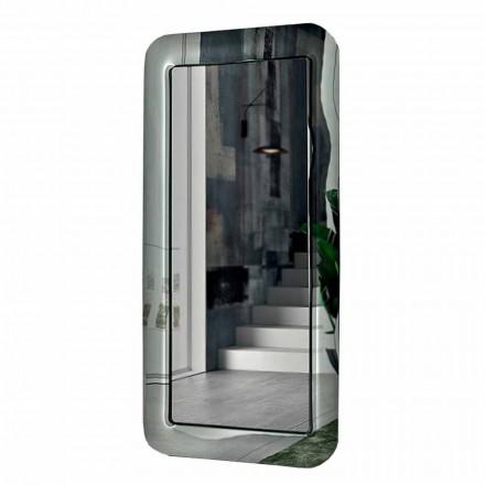 Pasqyrë e gjatë drejtkëndëshe me kornizë me efekt kristal prodhuar në Itali - Lak