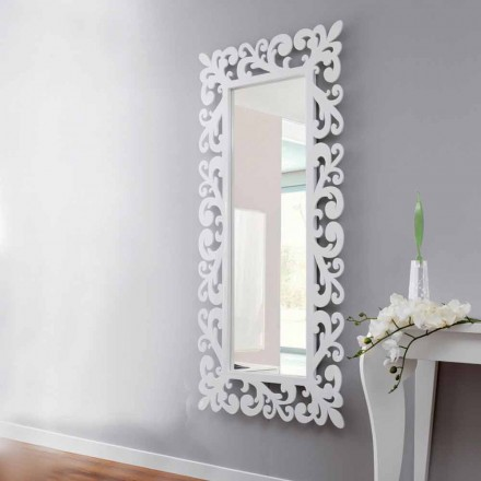 Pasqyra e murit me dizajn të madh drejtkëndor në dru të bardhë modern - kortez