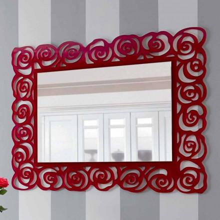 Pasqyra e madhe moderne e murit në pleksiglën e kuqe - Rosalinda