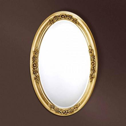 Pasqyrë moderne ovale e punuar me dorë nga druri, prodhuar në Itali, Federico