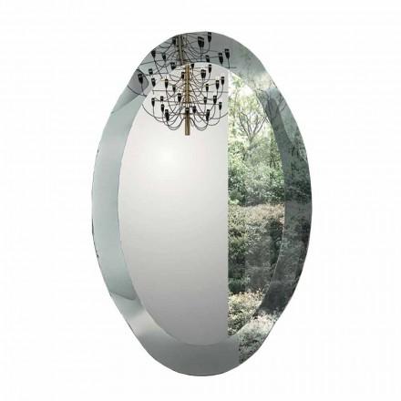 Pasqyrë muri ovale në xham të valëzuar me kristal prodhuar në Itali - Eclisse