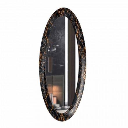 Pasqyrë muri e gjatë ovale me kornizë me efekt mermeri prodhuar në Itali - Denisse