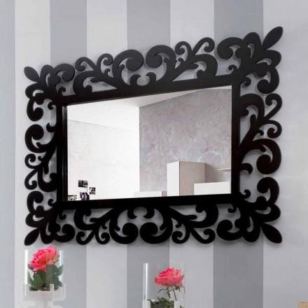 Pasqyrë mur drejtkëndëshe me dizajn të madh modern në dru të zi - Manola