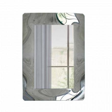 Pasqyrë drejtkëndëshe me kornizë qelqi të valëzuar prodhuar në Itali - Vira