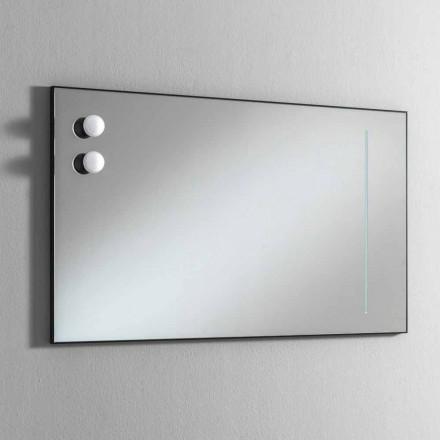 Pasqyrë banjo muri me 2 llamba dhe kornizë të zezë prodhuar në Itali - Kornizë