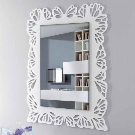 Pasqyra e murit me plexiglas të bardhë me kornizë të dekoruar drejtkëndëshe - Alidifarf