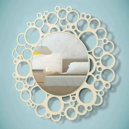 Pasqyra e murit të rrumbullakët në dru kafe të modelit modern me kornizë - gunga