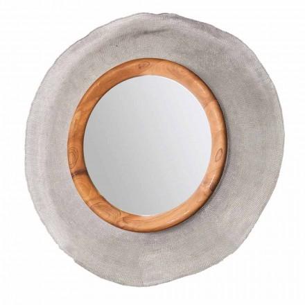 Pasqyrë moderne rrethore murale e bërë me metale dhe dru tik Monno