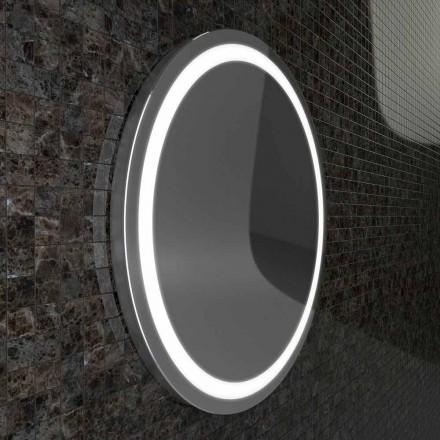 Pasqyrë banjoje LED me karamele me skaj çeliku inox, dizajn modern