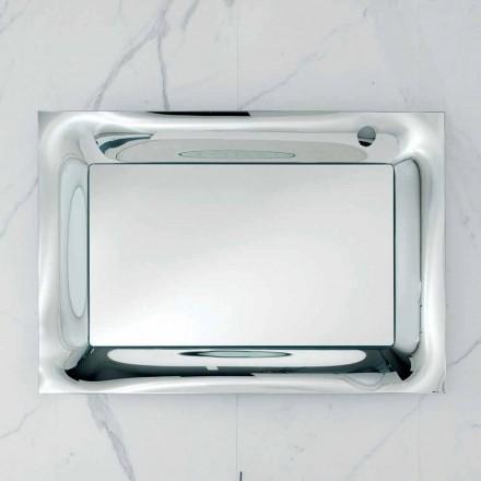 Pasqyrë banjo Arin me kornizë qelqi të shkrirë argjendi, dizajn modern