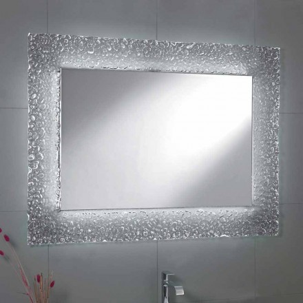 Pasqyrë banjo Tara me kornizë qelqi dhe dritë LED, dizajn modern