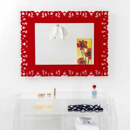 Pasqyrë murale e kuqe dekorative me dizajn makramé Tonya, e bërë në Itali
