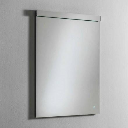 Pasqyrë muri me dritë LED të integruar në çelik inox prodhuar në Itali - Tuccio