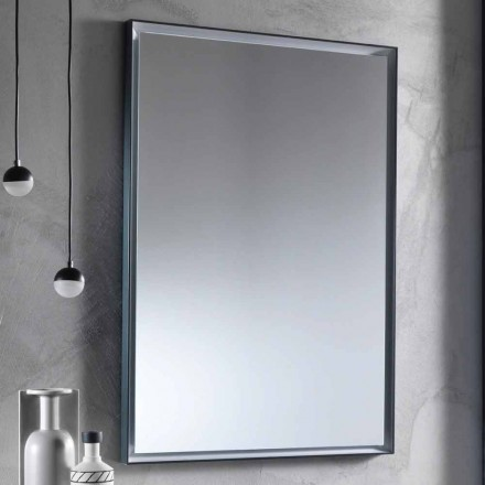 Pasqyrë muri me kornizë alumini dhe dritë LED prodhuar në Itali - Chik