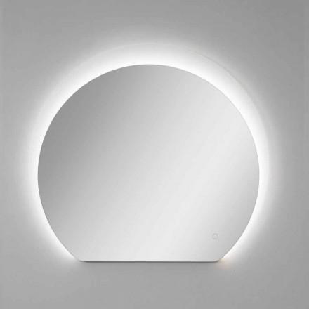 Pasqyrë Muri Moderne me Detaje të Sandblastuara dhe LED prodhuar në Itali - Rialto