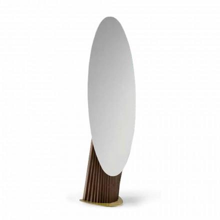 Pasqyrë luksoze për dysheme në dru hiri dhe metal prodhuar në Itali - Cuspide